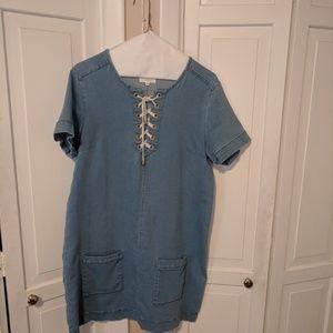 Sezane lace up denim dress size 36.
